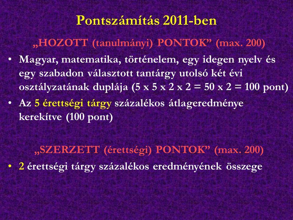 """Pontszámítás 2011-ben """"HOZOTT (tanulmányi) PONTOK (max."""