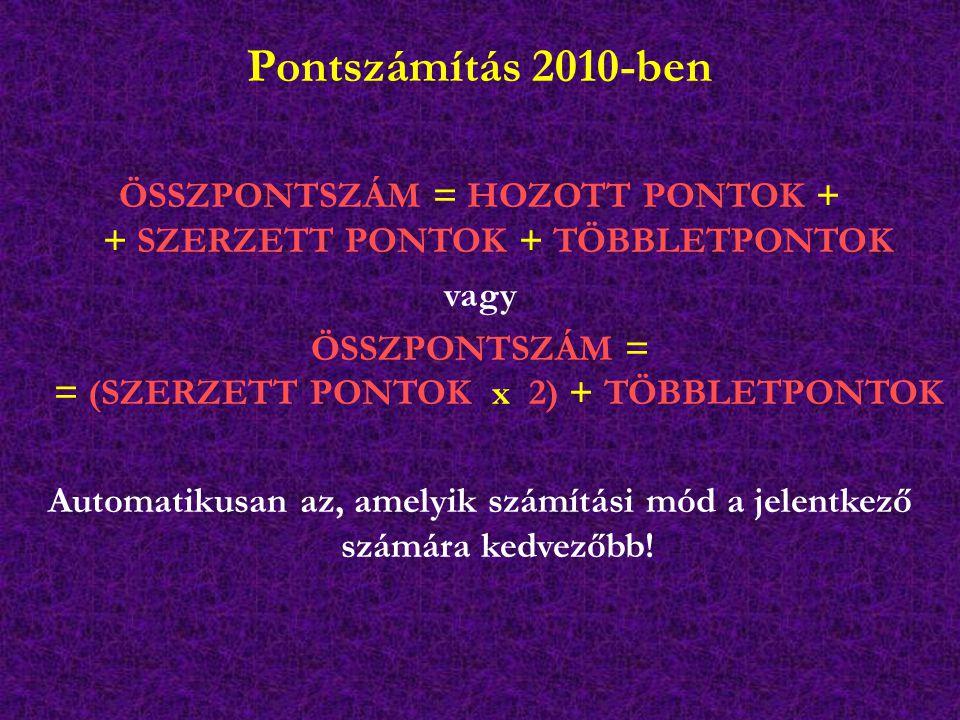 Pontszámítás 2010-ben ÖSSZPONTSZÁM = HOZOTT PONTOK + + SZERZETT PONTOK + TÖBBLETPONTOK vagy ÖSSZPONTSZÁM = = (SZERZETT PONTOK x 2) + TÖBBLETPONTOK Automatikusan az, amelyik számítási mód a jelentkező számára kedvezőbb!