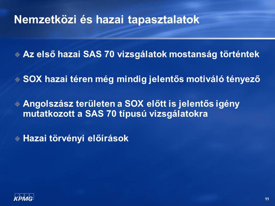 11 Nemzetközi és hazai tapasztalatok  Az első hazai SAS 70 vizsgálatok mostanság történtek  SOX hazai téren még mindig jelentős motiváló tényező  A