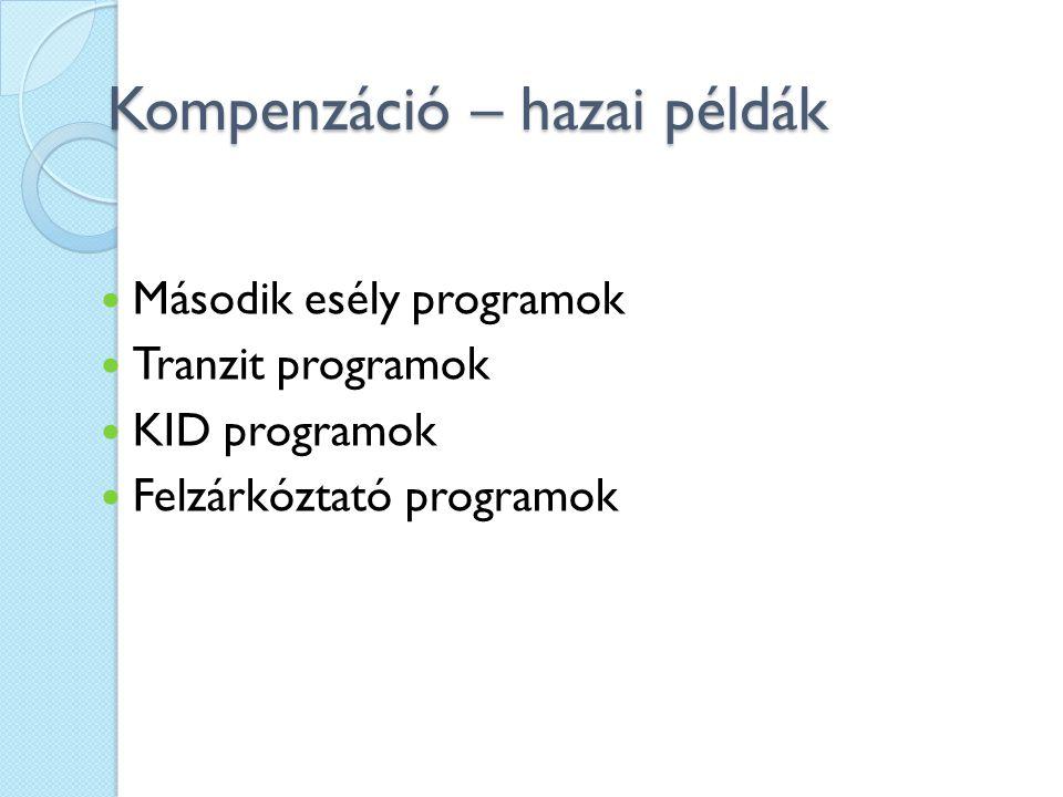 Kompenzáció – hazai példák Második esély programok Tranzit programok KID programok Felzárkóztató programok
