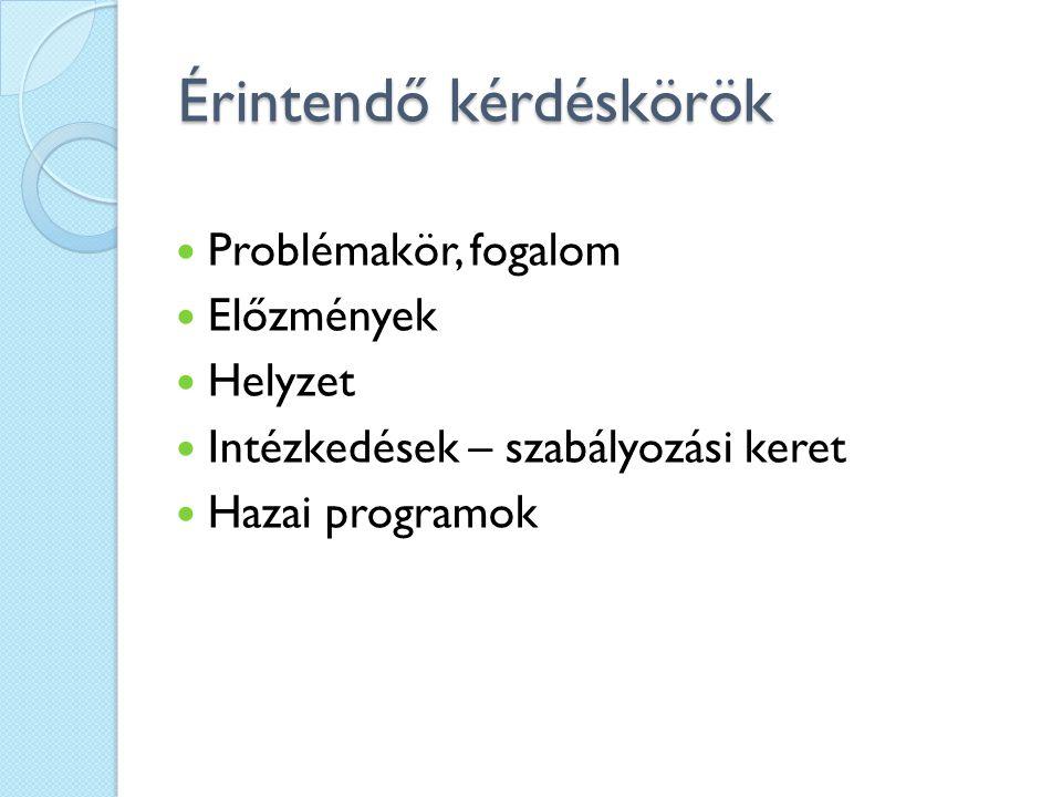 Érintendő kérdéskörök Problémakör, fogalom Előzmények Helyzet Intézkedések – szabályozási keret Hazai programok