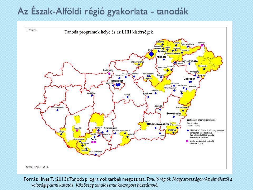 Az Észak-Alföldi régió gyakorlata - tanodák Forrás: Híves T.