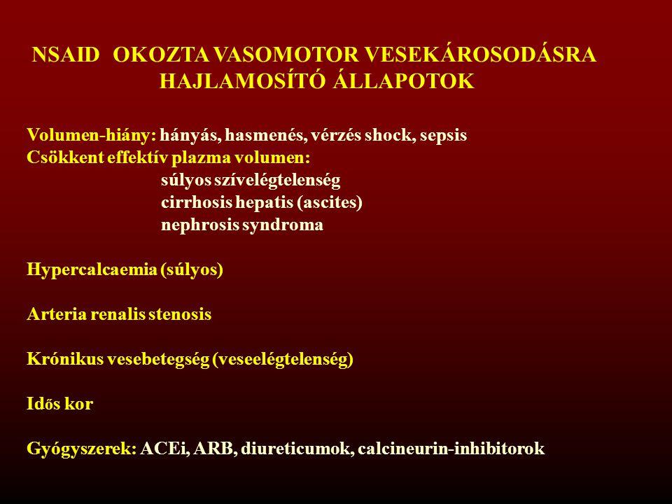 NSAID OKOZTA VASOMOTOR VESEKÁROSODÁSRA HAJLAMOSÍTÓ ÁLLAPOTOK Volumen-hiány: hányás, hasmenés, vérzés shock, sepsis Csökkent effektív plazma volumen: s