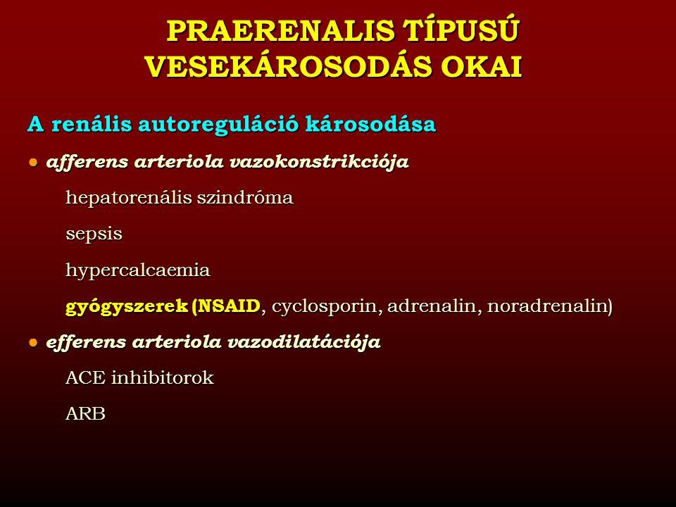 RENÁLIS TÍPUSÚ ACUT VESEKÁROSODÁS OKAI A veseparenchyma betegségei  Akut tubuláris nekrózis ischaemiás ATN (praerenális okok) toxikus ATN (endogén és exogén toxinok)  Intrarenális obstructió (kristályok, sejttörmelékek, cylinderek)  Intrarenális érkárosodás/occlusio thrombotikus microangiopathia hemolítikus uraemiás szindróma terhességgel összefüggő malignus hypertensio sclerodermavasculitisekcholesterinkristály-embolisatio  Glomeruláris betegségek (nephrosis sy.