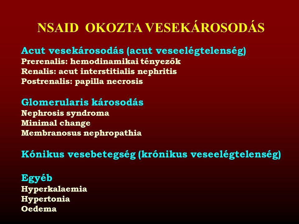 NSAID OKOZTA VESEKÁROSODÁS Acut vesekárosodás (acut veseelégtelenség) Prerenalis: hemodinamikai tényezők Renalis: acut interstitialis nephritis Postre