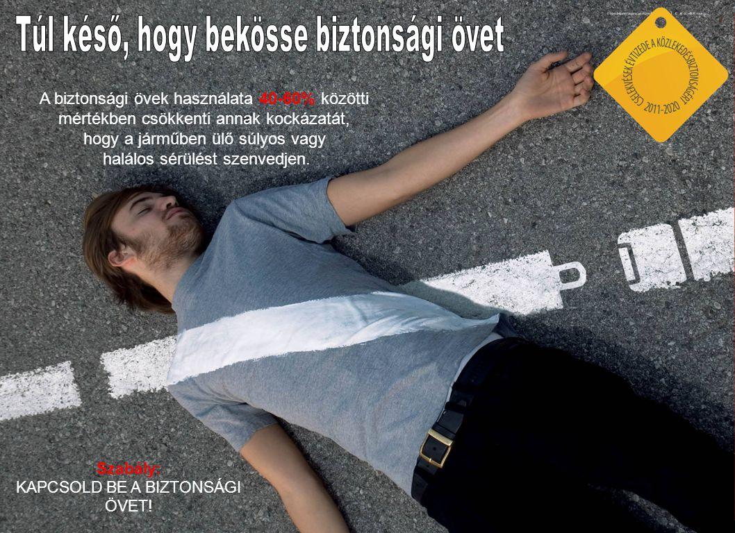 A biztonsági övek használata 40-60% közötti mértékben csökkenti annak kockázatát, hogy a járműben ülő súlyos vagy halálos sérülést szenvedjen.
