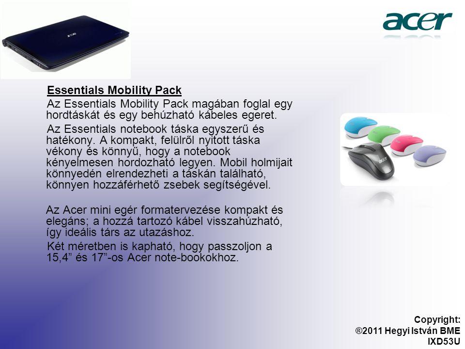 Essentials Mobility Pack Az Essentials Mobility Pack magában foglal egy hordtáskát és egy behúzható kábeles egeret.