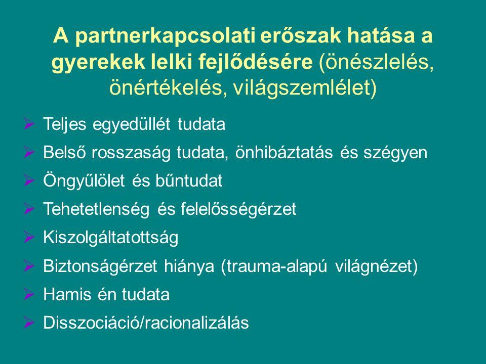 A partnerkapcsolati erőszak hatása a gyerekek lelki fejlődésére (önészlelés, önértékelés, világszemlélet)  Teljes egyedüllét tudata  Belső rosszaság