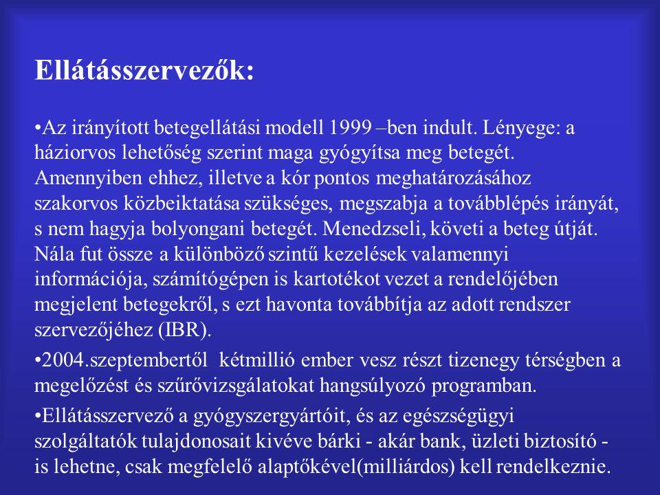 Ellátásszervezők: Az irányított betegellátási modell 1999 –ben indult.