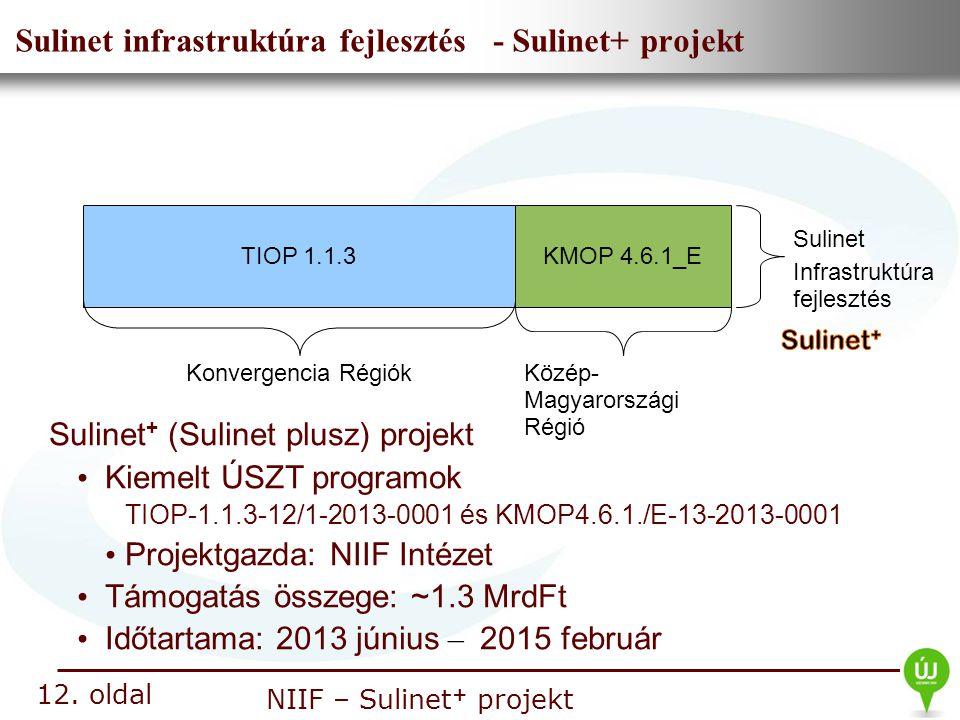 Nemzeti Információs Infrastruktúra Fejlesztési Intézet NIIF – Sulinet + projekt Sulinet infrastruktúra fejlesztés - Sulinet+ projekt 12. oldal TIOP 1.