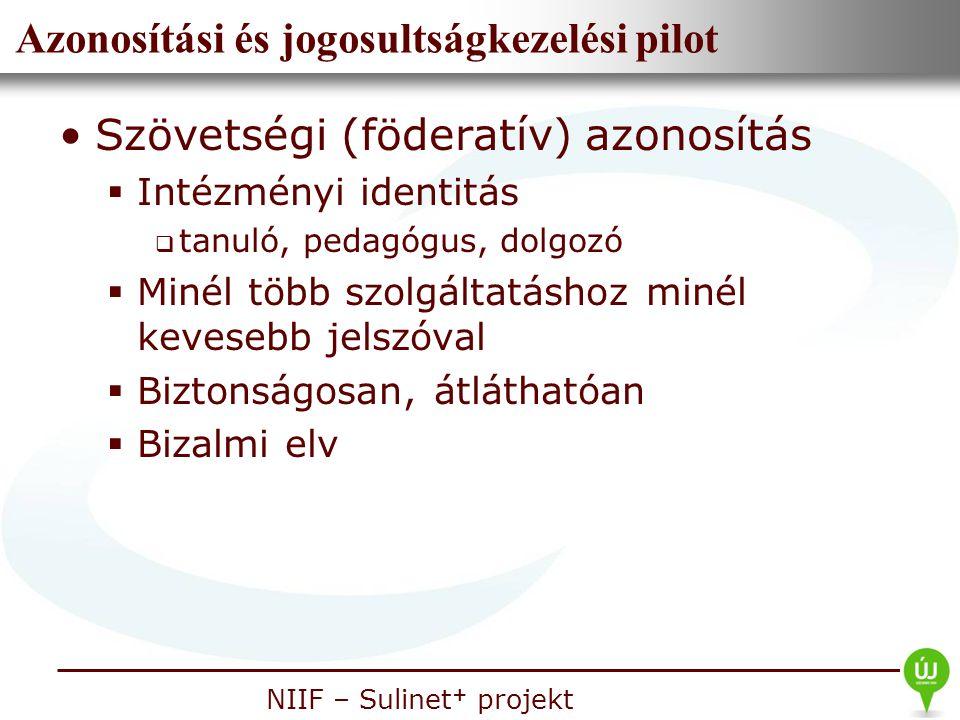 Nemzeti Információs Infrastruktúra Fejlesztési Intézet NIIF – Sulinet + projekt Azonosítási és jogosultságkezelési pilot Szövetségi (föderatív) azonos