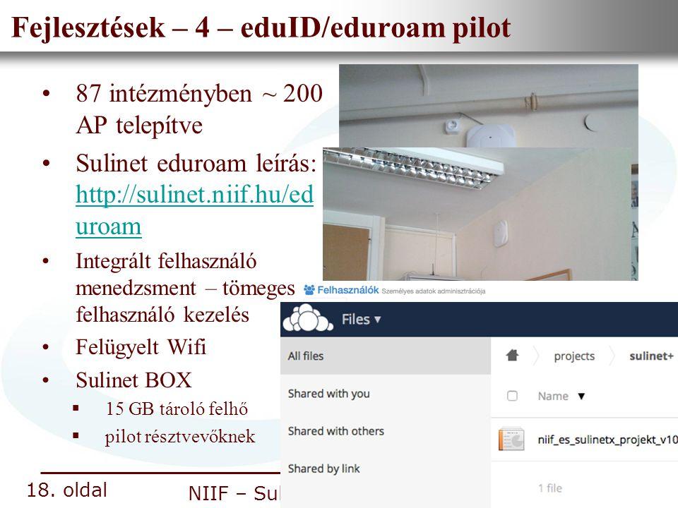 Nemzeti Információs Infrastruktúra Fejlesztési Intézet NIIF – Sulinet + projekt Fejlesztések – 4 – eduID/eduroam pilot 87 intézményben ~ 200 AP telepí
