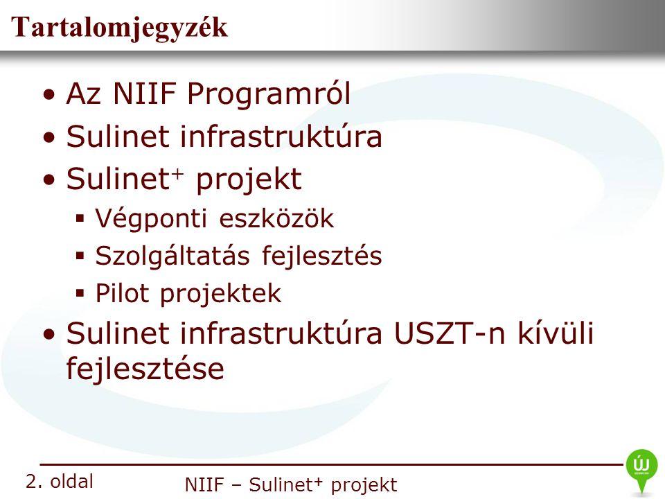 Nemzeti Információs Infrastruktúra Fejlesztési Intézet NIIF – Sulinet + projekt Tartalomjegyzék Az NIIF Programról Sulinet infrastruktúra Sulinet + pr