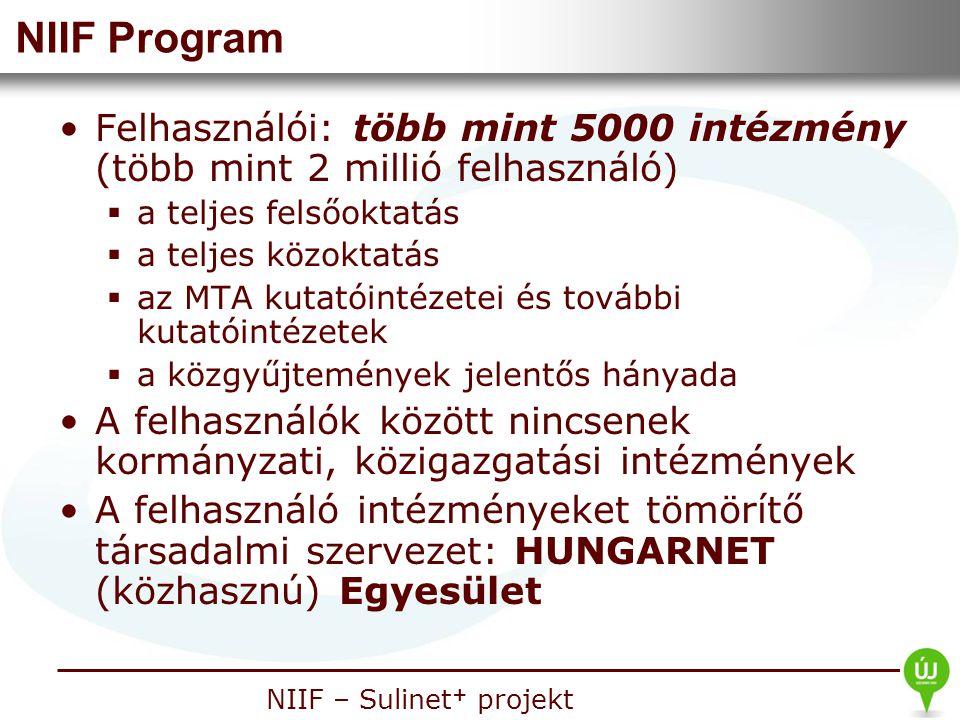 Nemzeti Információs Infrastruktúra Fejlesztési Intézet NIIF – Sulinet + projekt NIIF Program Felhasználói: több mint 5000 intézmény (több mint 2 milli