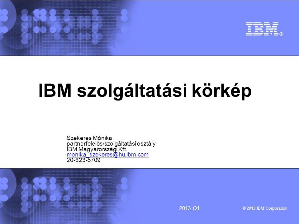 IBM – Technology Services © 2013 IBM Corporation 22013 Q1 Témák szolgáltatási fajták – együttműködési területek szerviz és hibabejelentés garancia kiterjesztés: eServicePac hasznos linkek: garancia ellenőrzése emelt szintű SLA kiválasztása hibabejelentéshez elérhetőség tanácsok viszonteladóknak
