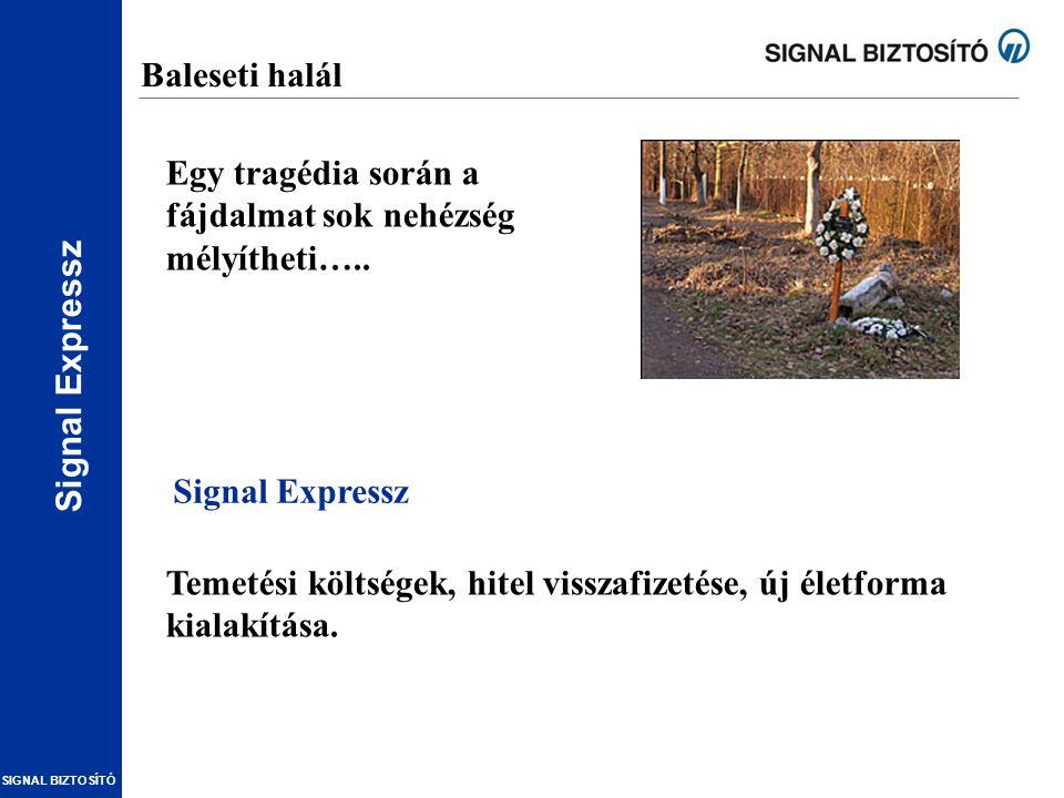Signal Expressz SIGNAL BIZTOSÍTÓ Baleseti halál Temetési költségek, hitel visszafizetése, új életforma kialakítása. Egy tragédia során a fájdalmat sok