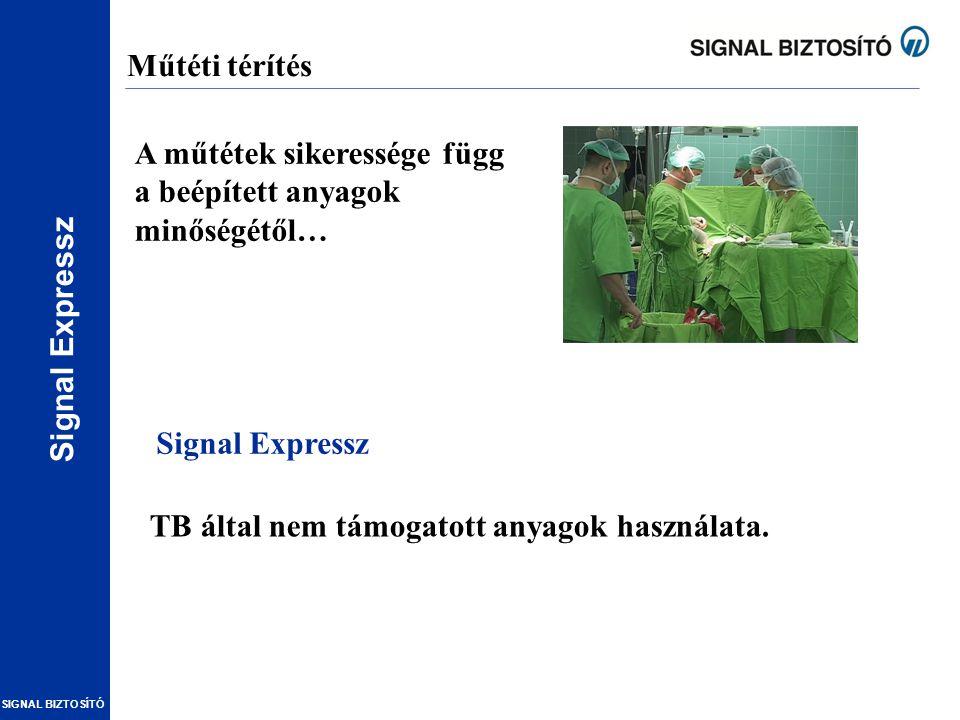 SIGNAL BIZTOSÍTÓ Műtéti térítés A műtétek sikeressége függ a beépített anyagok minőségétől… TB által nem támogatott anyagok használata. Signal Express