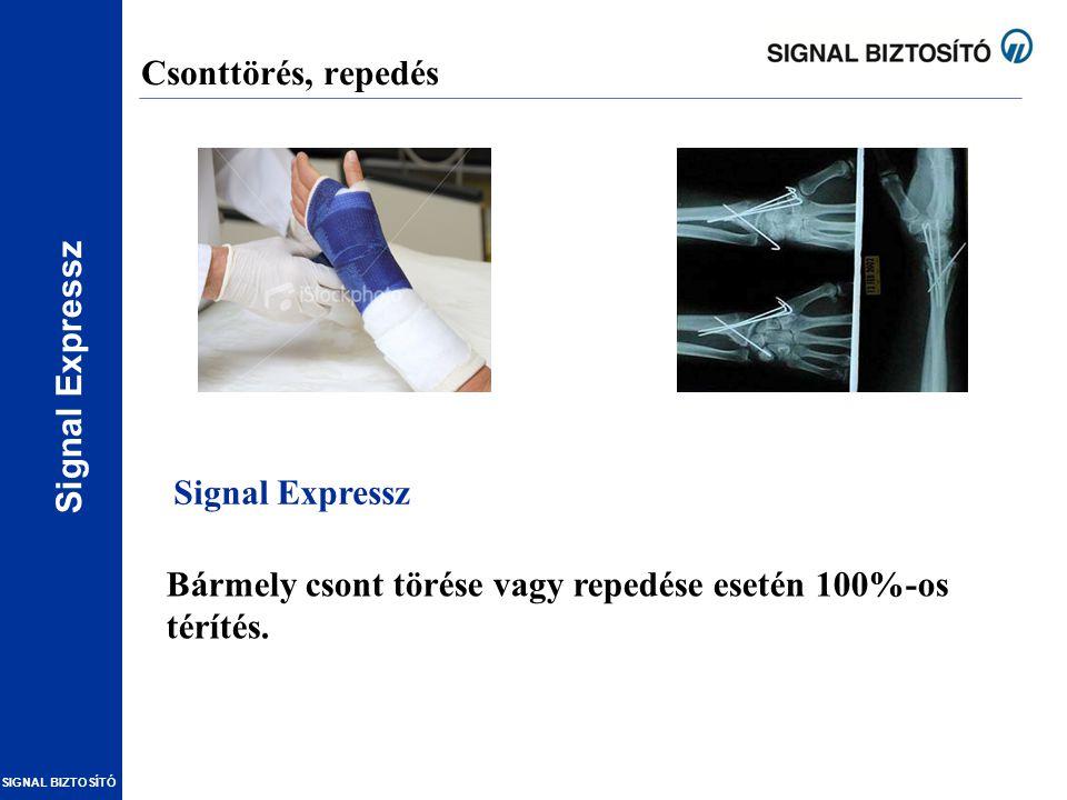 SIGNAL BIZTOSÍTÓ Csonttörés, repedés Bármely csont törése vagy repedése esetén 100%-os térítés. Signal Expressz