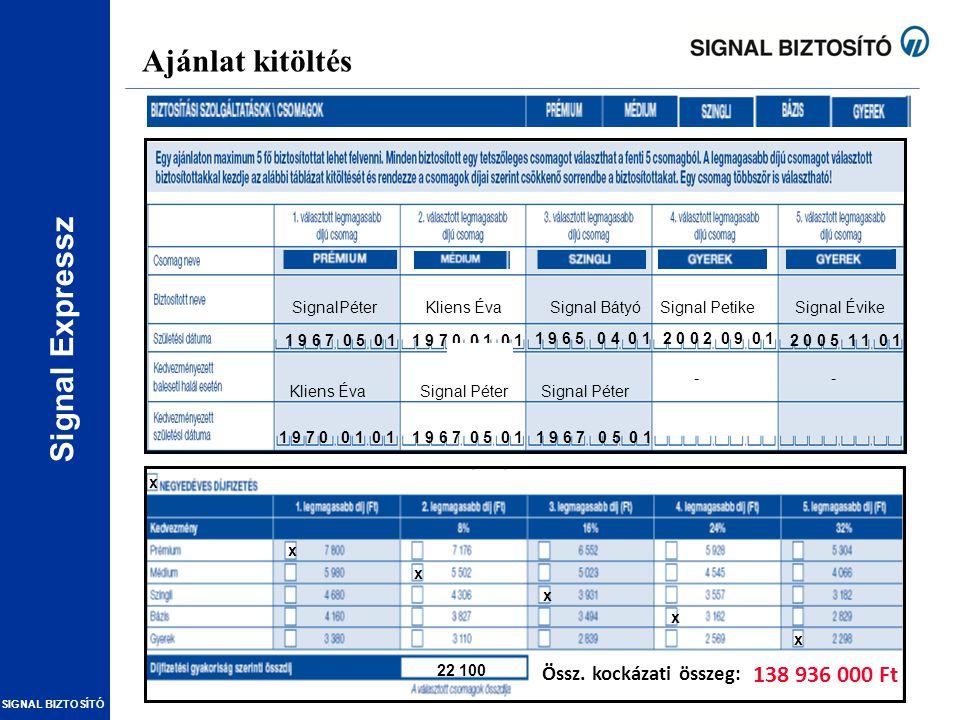 Signal Expressz SIGNAL BIZTOSÍTÓ Ajánlat kitöltés SignalPéterKliens ÉvaSignal ÉvikeSignal PetikeSignal Bátyó 1 9 7 0 0 1 0 11 9 6 7 0 5 0 1 1 9 6 5 0