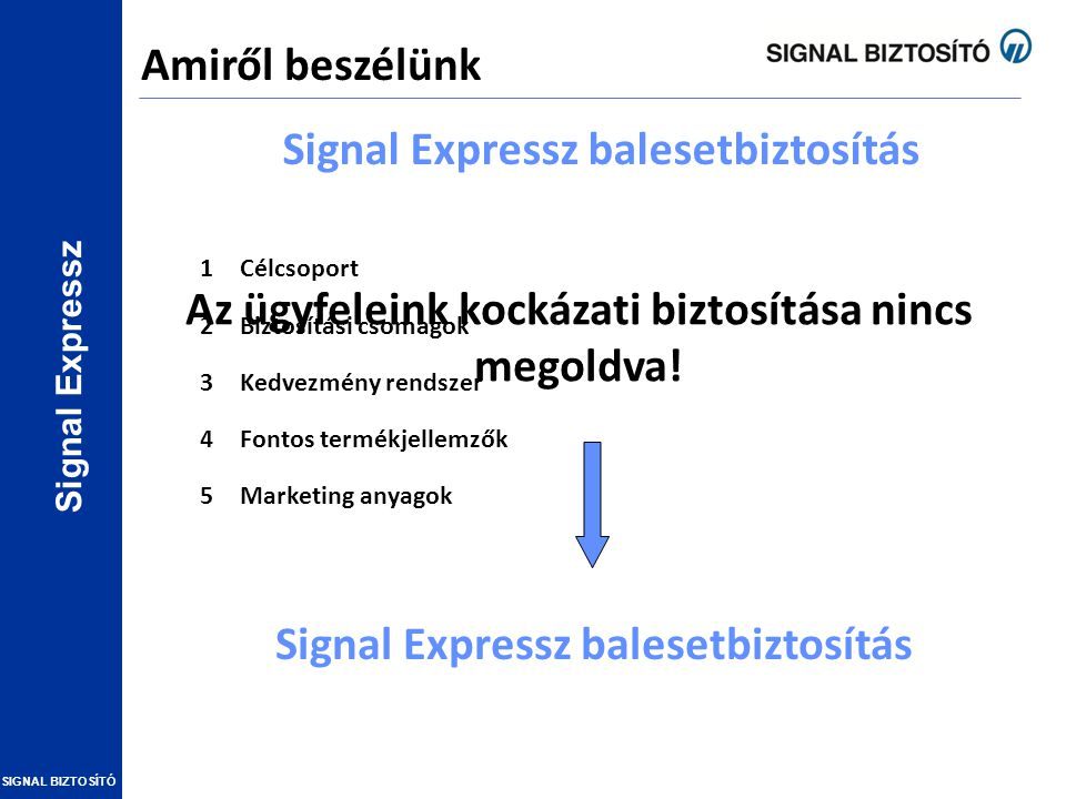 Signal Expressz SIGNAL BIZTOSÍTÓ 1Célcsoport 2Biztosítási csomagok 3Kedvezmény rendszer 4Fontos termékjellemzők 5Marketing anyagok Az ügyfeleink kocká