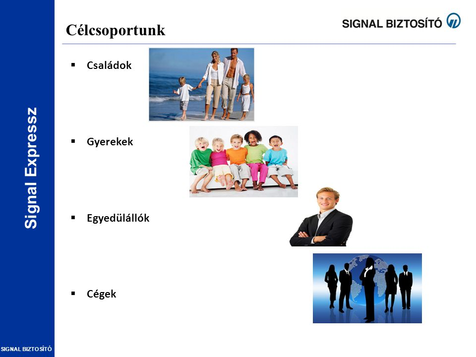 Signal Expressz SIGNAL BIZTOSÍTÓ A legfőbb termékelőnyök (fedezetek) Signal Expressz A legjobb egyedi baleset termék Magyarországon (komplex biztosítási védelem) Halál, rokkantság, kórházi és extra kiegészítők az 5 csomagban Könnyű értékesíthetőség (innovatív marketing anyagok) Fő termékjellemzők