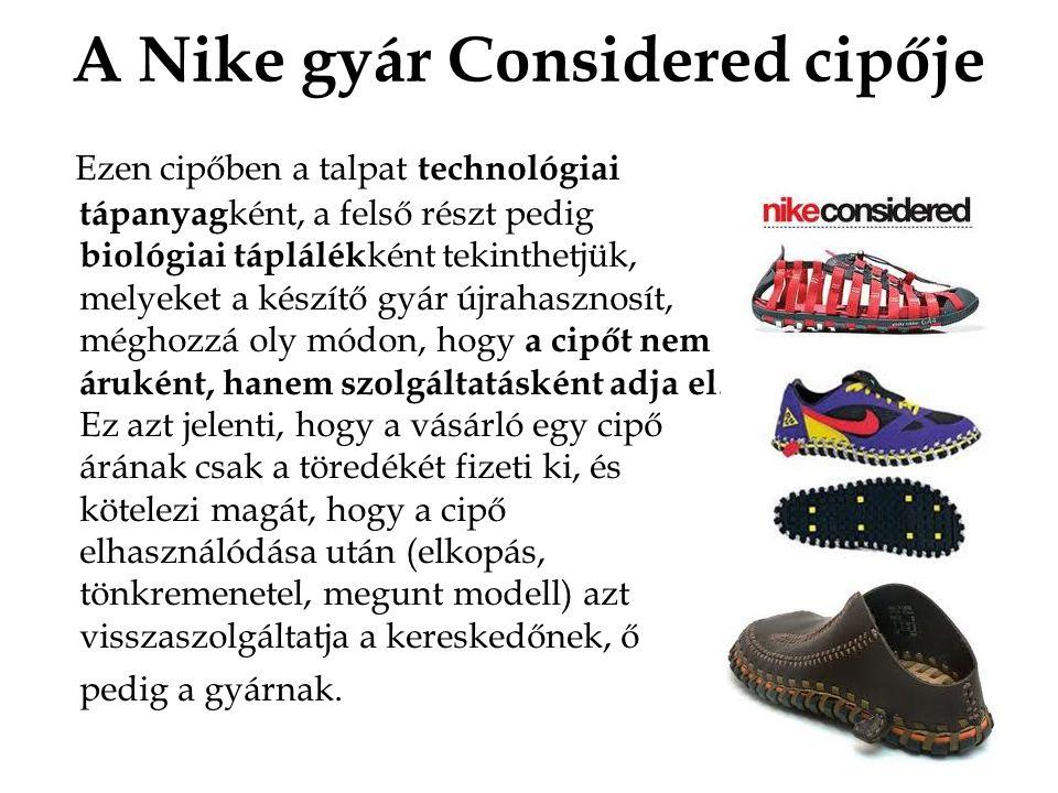 A Nike gyár Considered cipője Ezen cipőben a talpat technológiai tápanyag ként, a felső részt pedig biológiai táplálék ként tekinthetjük, melyeket a készítő gyár újrahasznosít, méghozzá oly módon, hogy a cipőt nem áruként, hanem szolgáltatásként adja el.