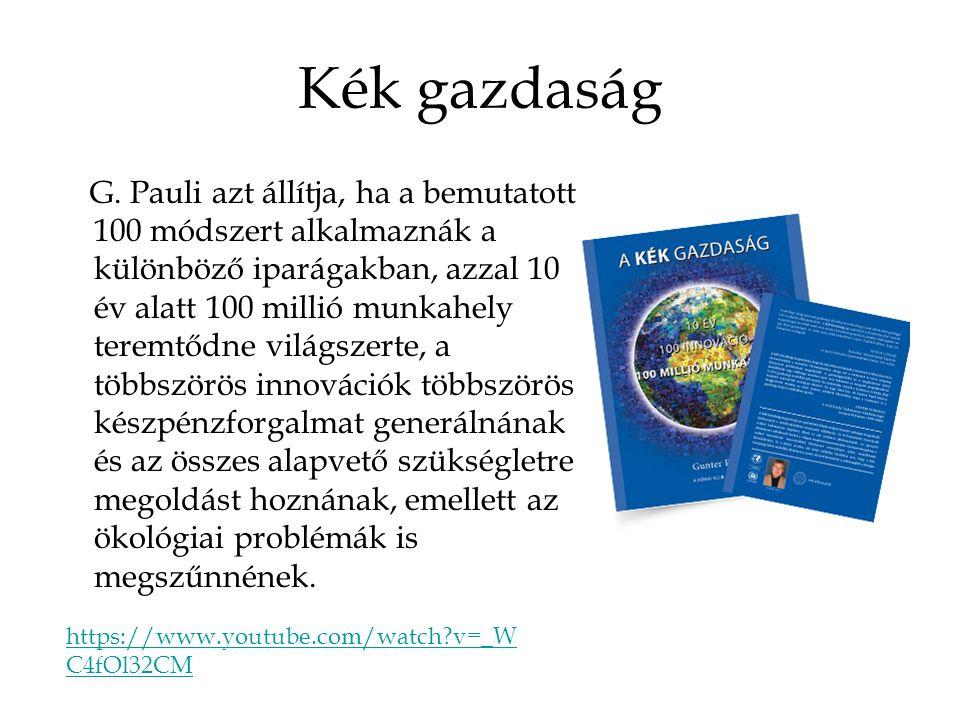 Kék gazdaság G. Pauli azt állítja, ha a bemutatott 100 módszert alkalmaznák a különböző iparágakban, azzal 10 év alatt 100 millió munkahely teremtődne