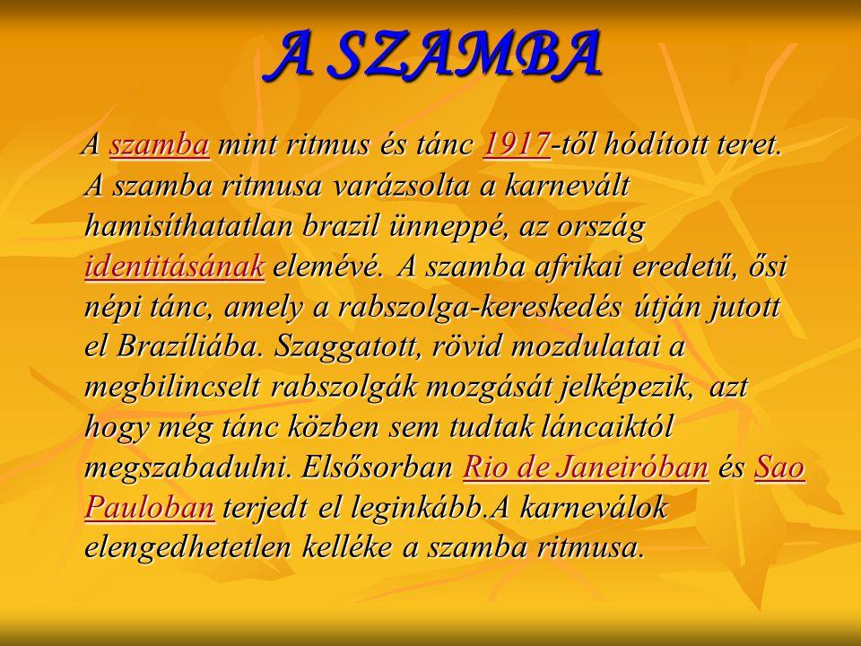 A SZAMBA A szamba mint ritmus és tánc 1917-től hódított teret. A szamba ritmusa varázsolta a karnevált hamisíthatatlan brazil ünneppé, az ország ident