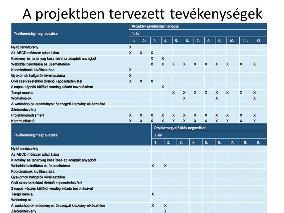 A projektben tervezett tevékenységek
