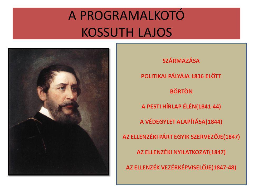 A PROGRAMALKOTÓ KOSSUTH LAJOS SZÁRMAZÁSA POLITIKAI PÁLYÁJA 1836 ELŐTT BÖRTÖN A PESTI HÍRLAP ÉLÉN(1841-44) A VÉDEGYLET ALAPÍTÁSA(1844) AZ ELLENZÉKI PÁR