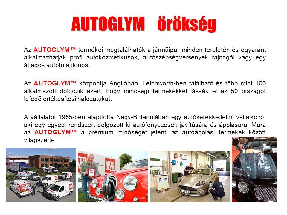 AUTOGLYM örökség Az AUTOGLYM™ termékei megtalálhatók a járműipar minden területén és egyaránt alkalmazhatják profi autókozmetikusok, autószépségversen