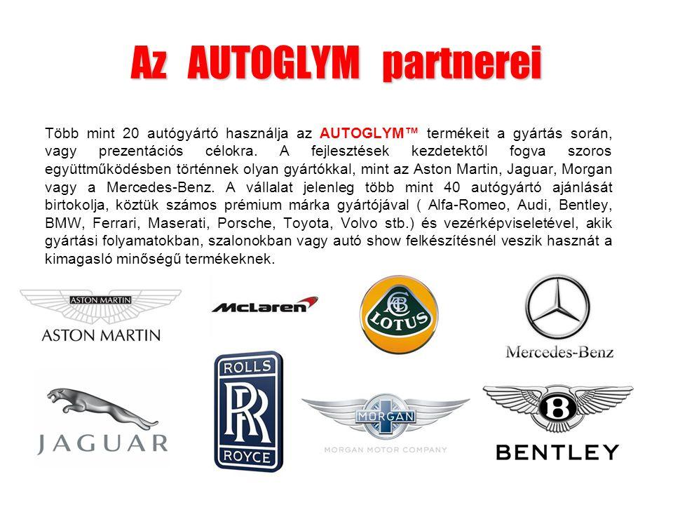 Az AUTOGLYM partnerei Több mint 20 autógyártó használja az AUTOGLYM™ termékeit a gyártás során, vagy prezentációs célokra. A fejlesztések kezdetektől