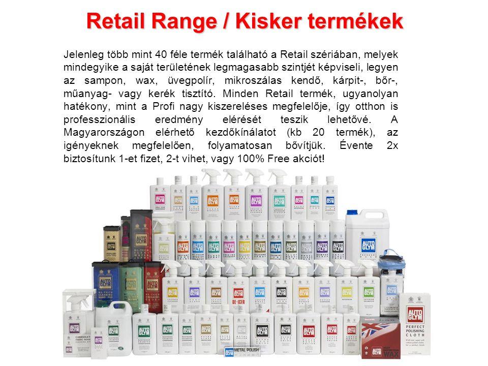 Retail Range / Kisker termékek Jelenleg több mint 40 féle termék található a Retail szériában, melyek mindegyike a saját területének legmagasabb szint