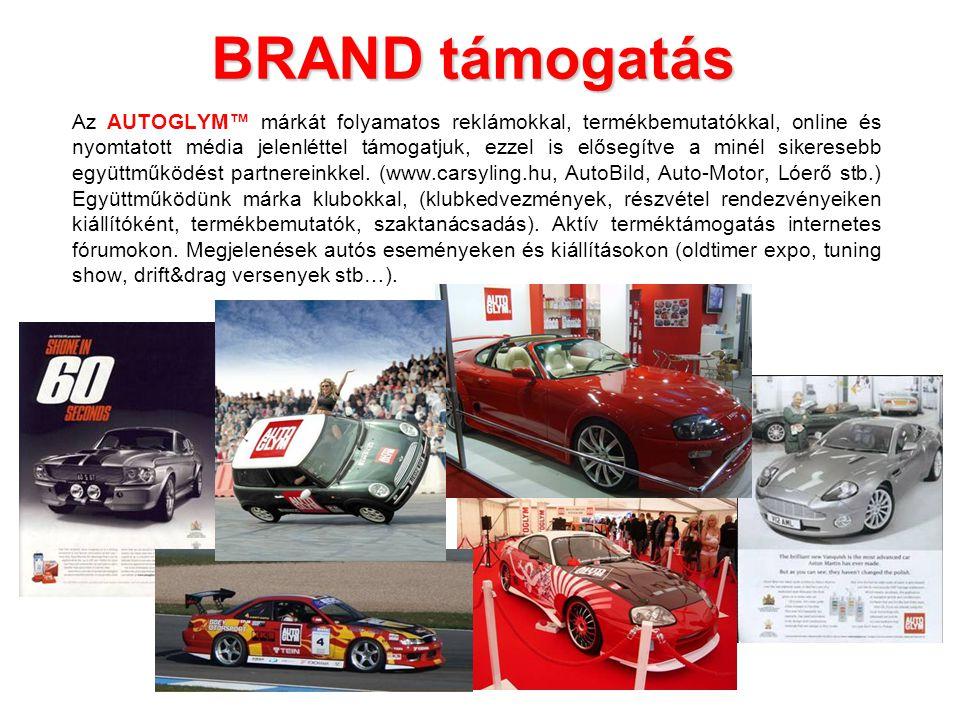 BRAND támogatás Az AUTOGLYM™ márkát folyamatos reklámokkal, termékbemutatókkal, online és nyomtatott média jelenléttel támogatjuk, ezzel is elősegítve