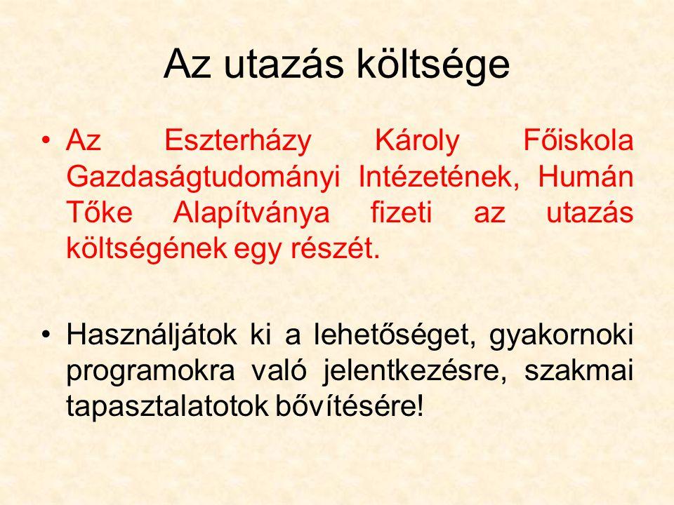 Az utazás költsége Az Eszterházy Károly Főiskola Gazdaságtudományi Intézetének, Humán Tőke Alapítványa fizeti az utazás költségének egy részét.