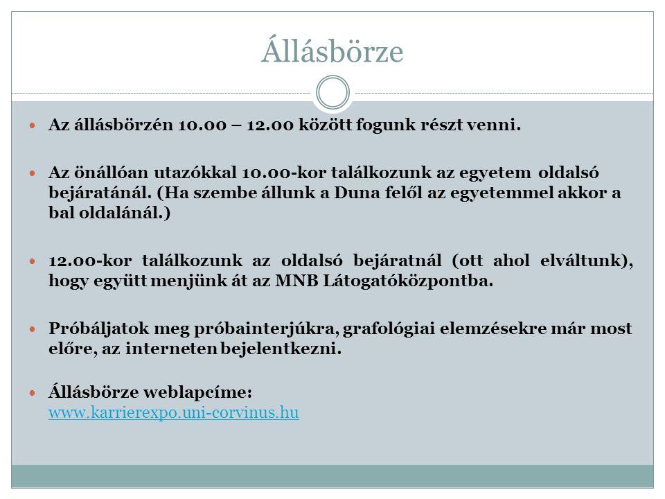 Állásbörze Az állásbörzén 10.00 – 12.00 között fogunk részt venni.