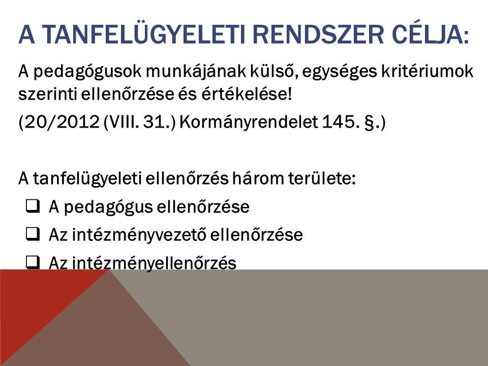 A pedagógusok munkájának külső, egységes kritériumok szerinti ellenőrzése és értékelése! (20/2012 (VIII. 31.) Kormányrendelet 145. §.) A tanfelügyelet