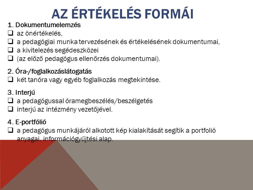 AZ ÉRTÉKELÉS FORMÁI 1.