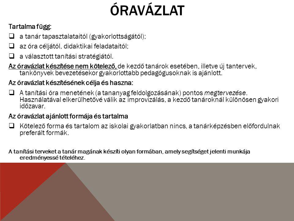 ÓRAVÁZLAT- KÖTELEZŐ.