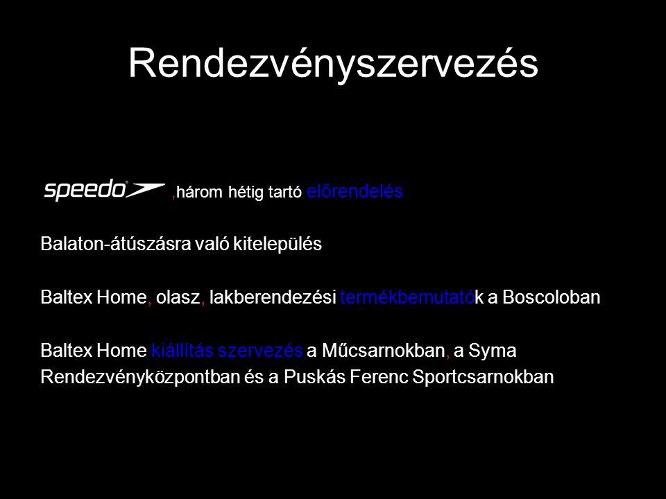 Rendezvényszervezés,három hétig tartó előrendelés Balaton-átúszásra való kitelepülés Baltex Home, olasz, lakberendezési termékbemutatók a Boscoloban Baltex Home kiállítás szervezés a Műcsarnokban, a Syma Rendezvényközpontban és a Puskás Ferenc Sportcsarnokban