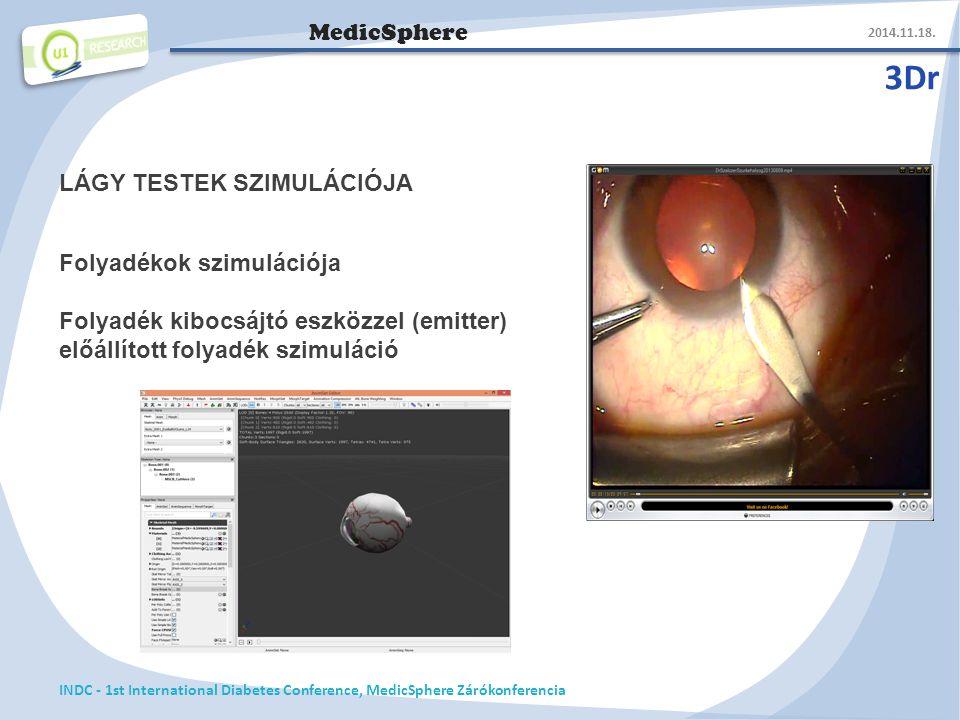 MedicSphere 3Dr 2014.11.18. INDC - 1st International Diabetes Conference, MedicSphere Zárókonferencia LÁGY TESTEK SZIMULÁCIÓJA Folyadékok szimulációja