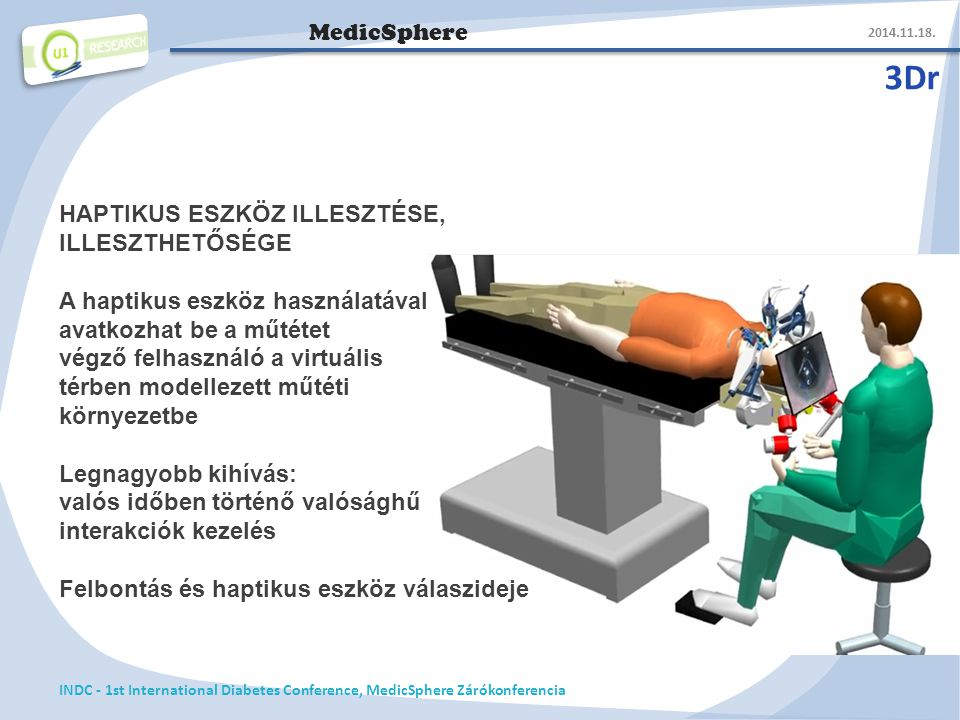MedicSphere 3Dr 2014.11.18. INDC - 1st International Diabetes Conference, MedicSphere Zárókonferencia HAPTIKUS ESZKÖZ ILLESZTÉSE, ILLESZTHETŐSÉGE A ha