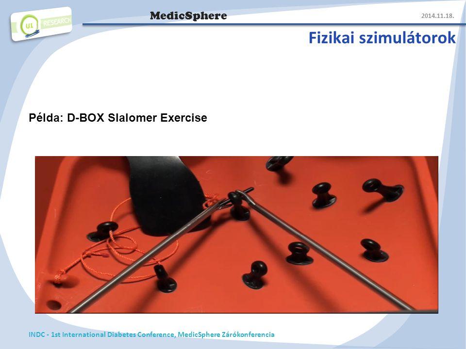 MedicSphere Fizikai szimulátorok 2014.11.18. INDC - 1st International Diabetes Conference, MedicSphere Zárókonferencia Példa: D-BOX Slalomer Exercise
