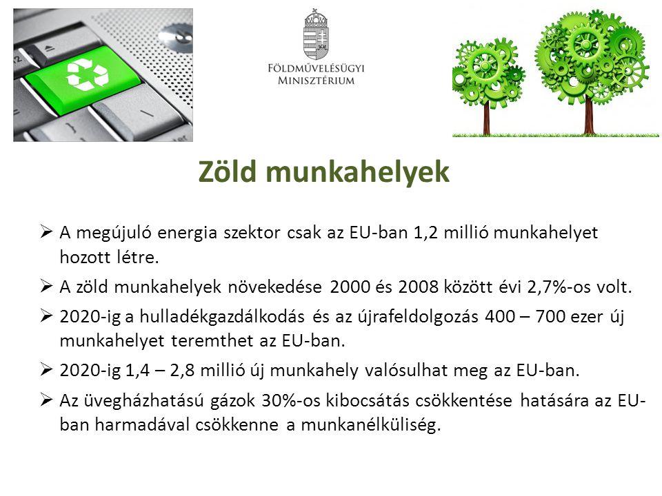 Zöld munkahelyek  A megújuló energia szektor csak az EU-ban 1,2 millió munkahelyet hozott létre.  A zöld munkahelyek növekedése 2000 és 2008 között