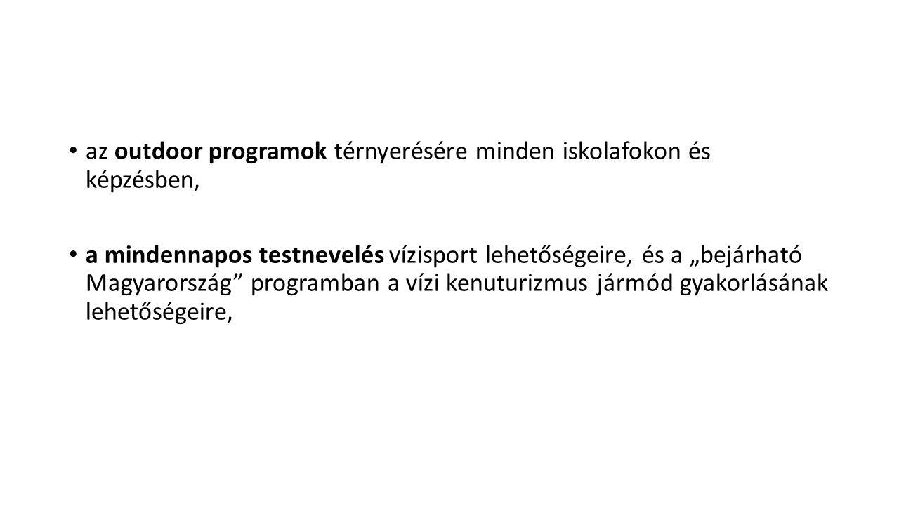 """az outdoor programok térnyerésére minden iskolafokon és képzésben, a mindennapos testnevelés vízisport lehetőségeire, és a """"bejárható Magyarország programban a vízi kenuturizmus jármód gyakorlásának lehetőségeire,"""