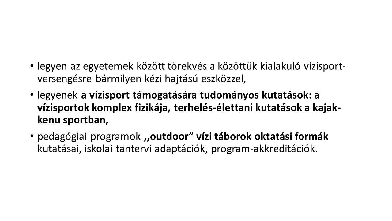 Nemzetközi vízi túrák az egyetemi hallgatók részvételével, a Duna menti országok vízi találkozói Szegeden, Budapesten, Győrben, Budapesten nagy rendezvények, egyetemi főiskolai részvétellel.