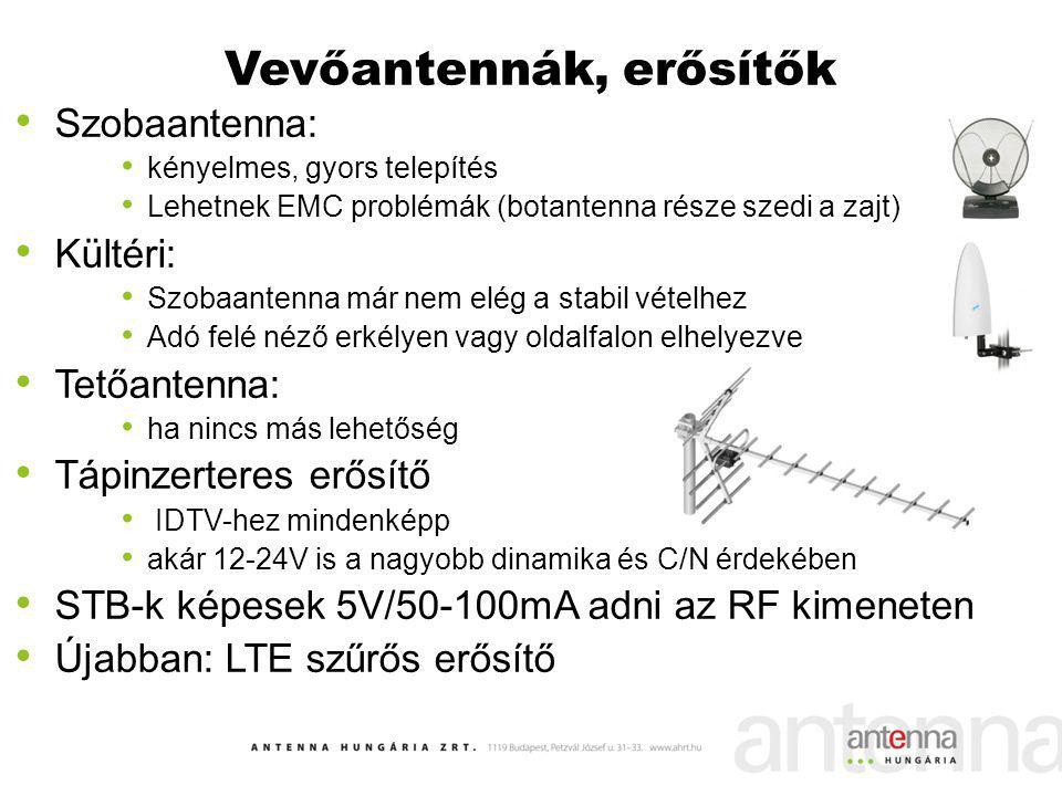 Vevőantennák, erősítők Szobaantenna: kényelmes, gyors telepítés Lehetnek EMC problémák (botantenna része szedi a zajt) Kültéri: Szobaantenna már nem e