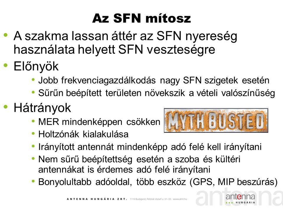 Az SFN mítosz A szakma lassan áttér az SFN nyereség használata helyett SFN veszteségre Előnyök Jobb frekvenciagazdálkodás nagy SFN szigetek esetén Sűr