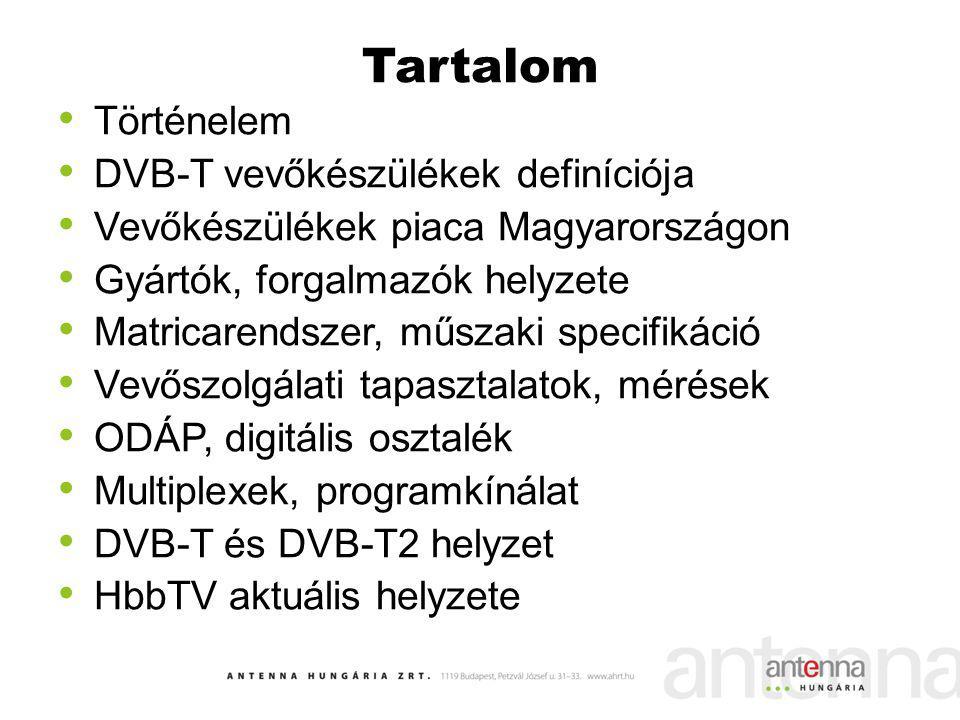Egy kis történelem 1999.07.09.DVB-T kísérleti sugárzás – Budapest, MPEG-2 forráskódolás 2001.10.