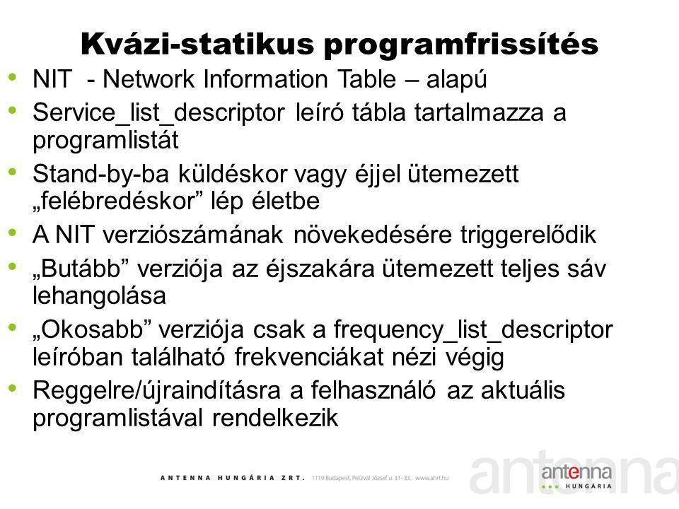 Kvázi-statikus programfrissítés NIT - Network Information Table – alapú Service_list_descriptor leíró tábla tartalmazza a programlistát Stand-by-ba kü
